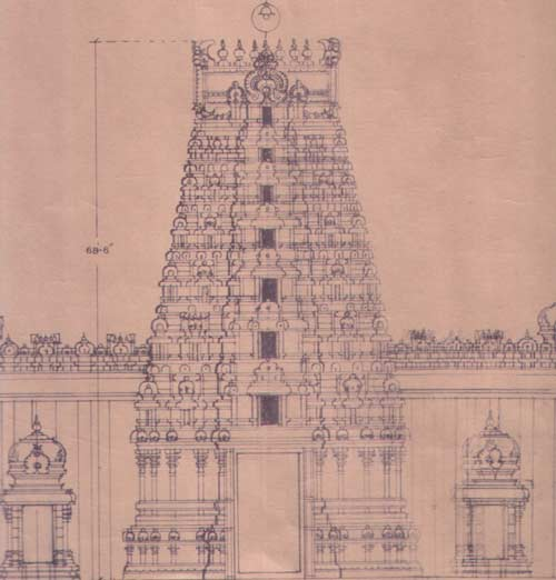 architect's scheme of Jnanamalai gopuram